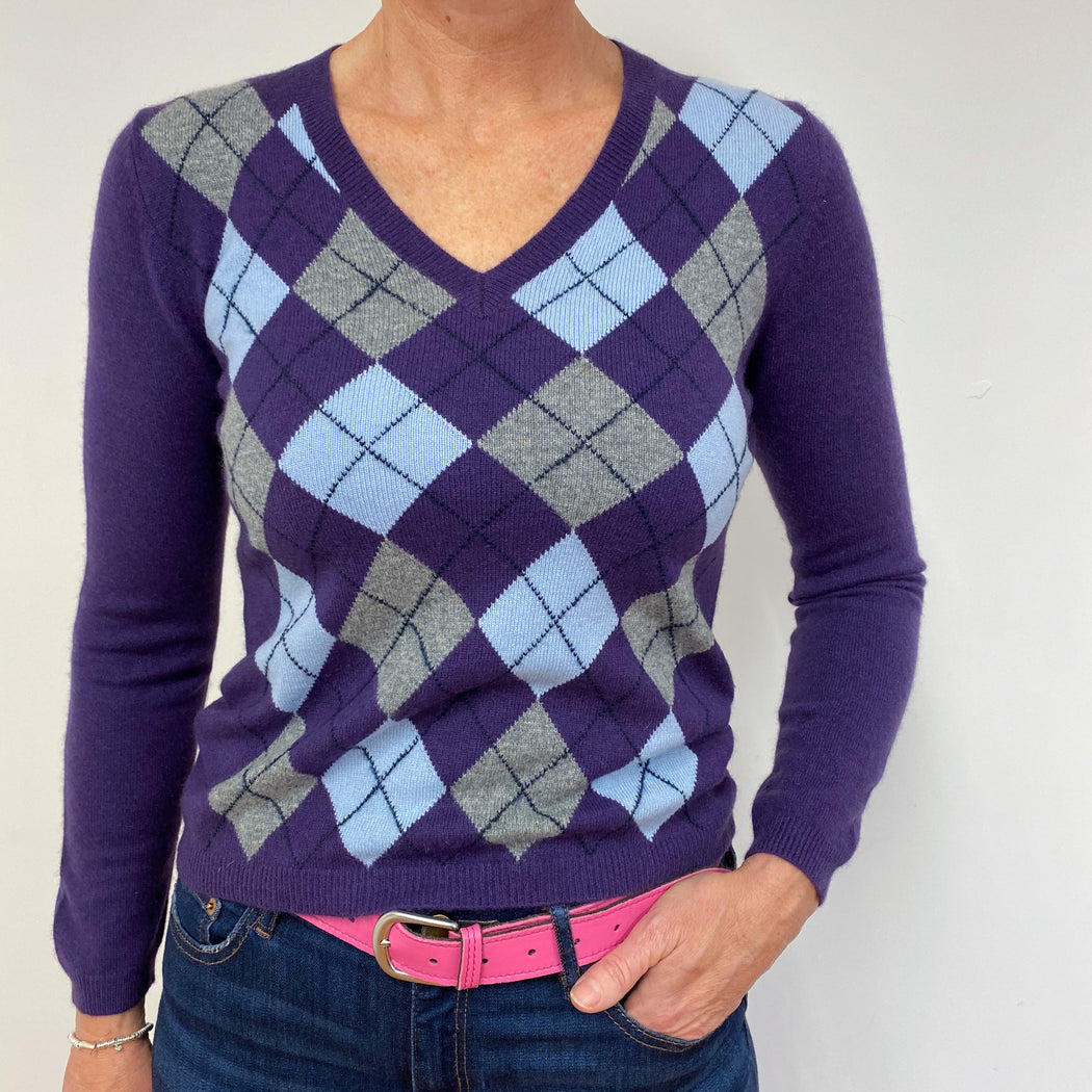Amathyst Purple Diamond Pattern V-Neck Jumper Small