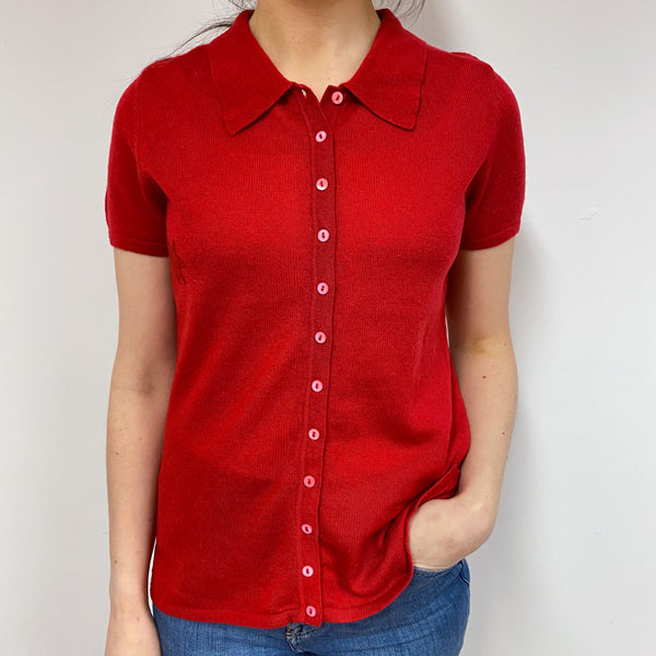 Postbox Red Button Through Short Sleeve Tee Small