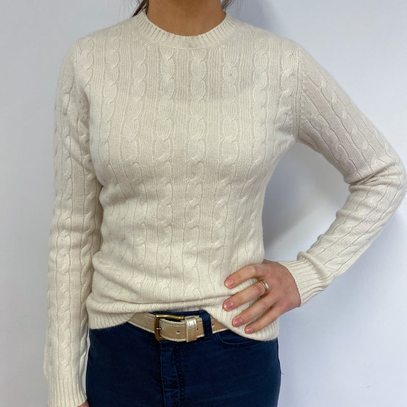 Cream Chunky Cable Knit Crew Neck Jumper Small