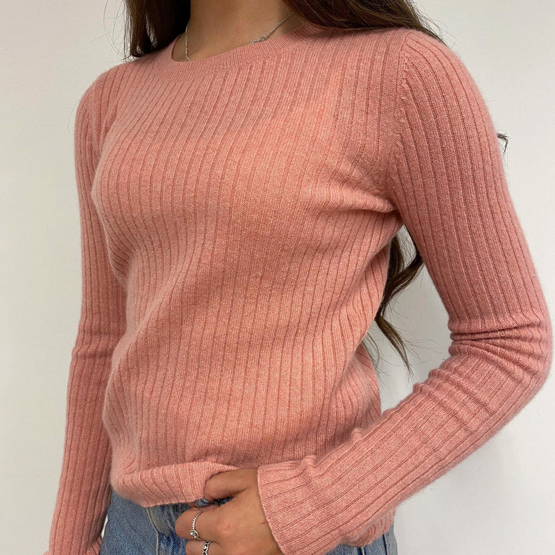 Peachy Pink Ribbed Crew Neck Jumper Small