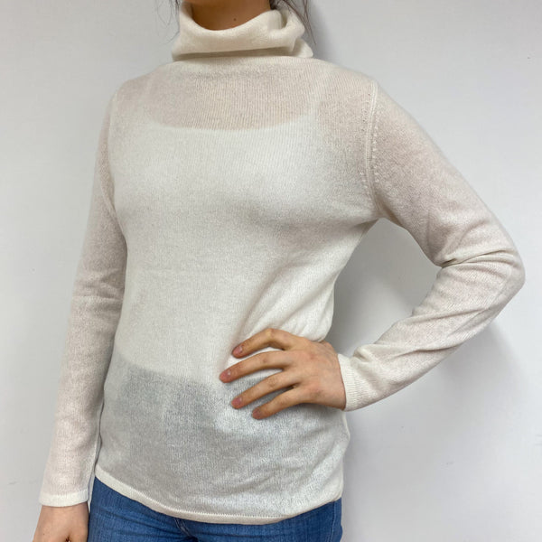 Winter White Polo Neck Jumper Small