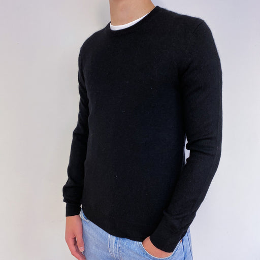 Men's Black Crew Neck Jumper S