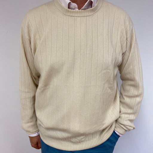 Men's Cream Ribbed Crew Neck Jumper XL