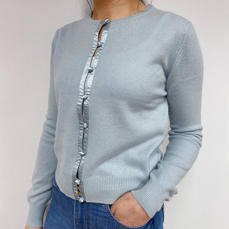 Pale Duck Egg Blue Crew Neck Cardigan Small