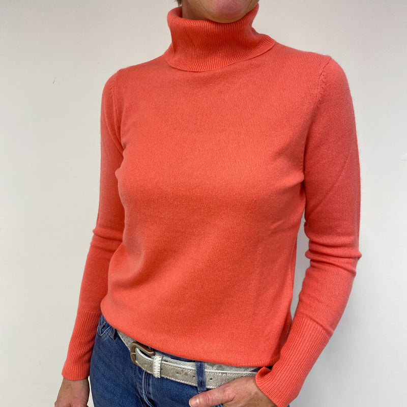 Coral Pink Polo Neck Jumper Medium