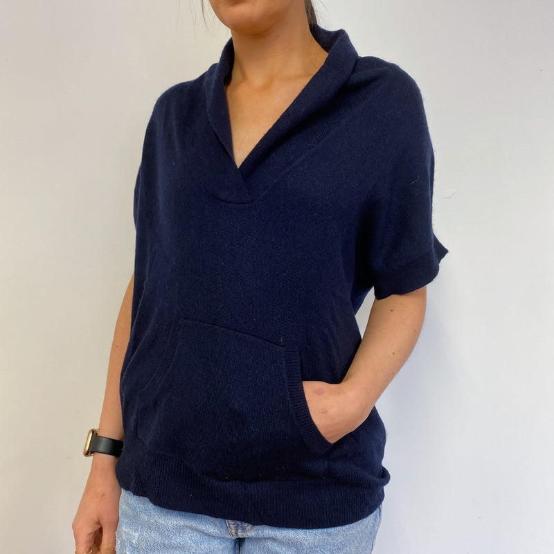 Navy Blue Short Sleeve V Neck Jumper Small