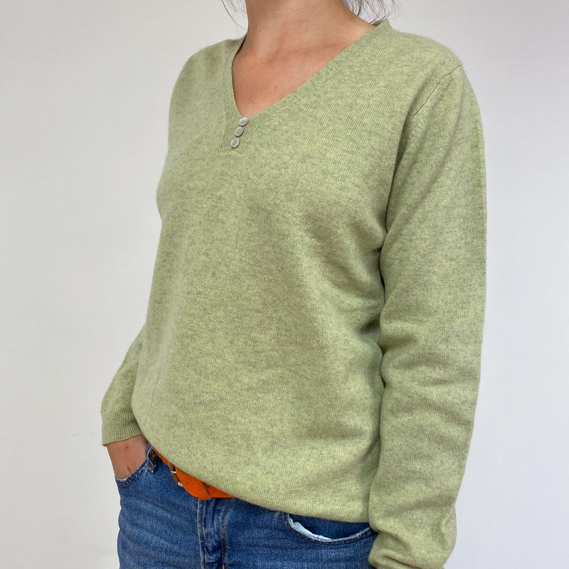 Pistachio Green V-Neck Jumper Medium