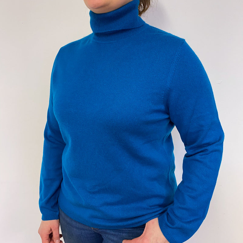 Peacock Blue Polo Neck Jumper Large