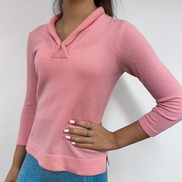 Candy Pink Shawl Collar Jumper Extra Small