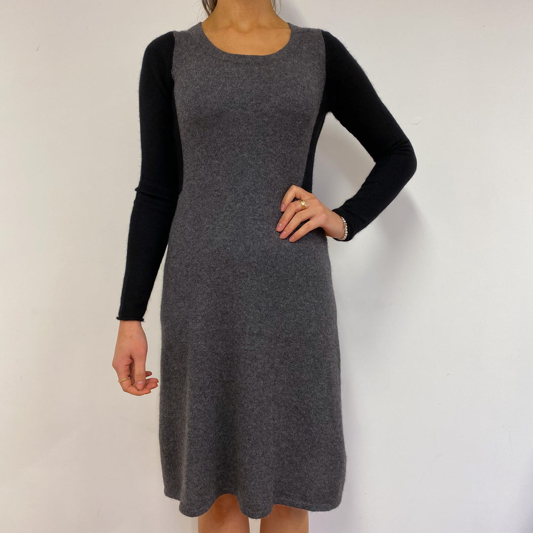 Charcoal Grey and Black Crew Neck Dress Small