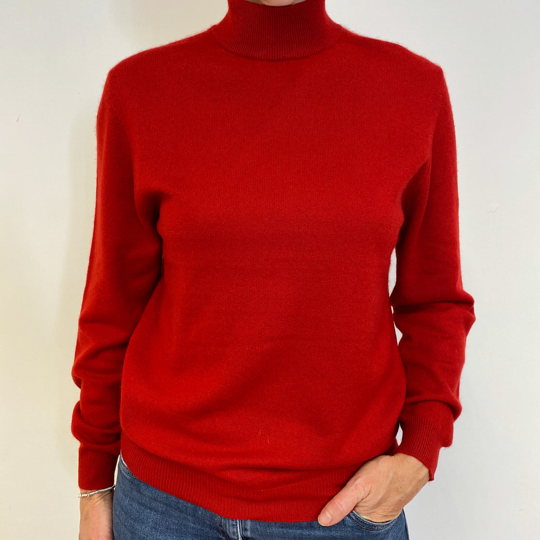 Postbox Red Polo Neck Jumper Medium