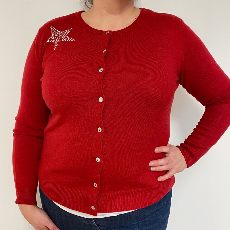 Postbox Red Diamanté Star Detailed Cardigan Extra Large