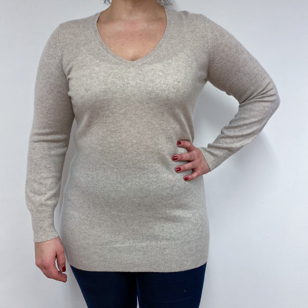Oyster V Neck Jumper Large