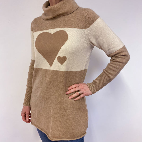 Caramel And Beige Stripped Heart Polo Neck Jumper Medium