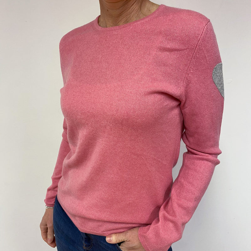 Dusty Pink Heart Detailed Crew Neck Jumper Medium