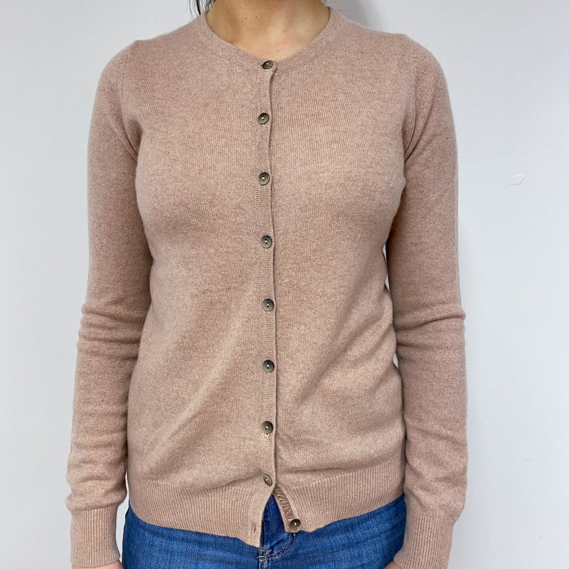 Pale Caramel Crew Neck Cardigan Small