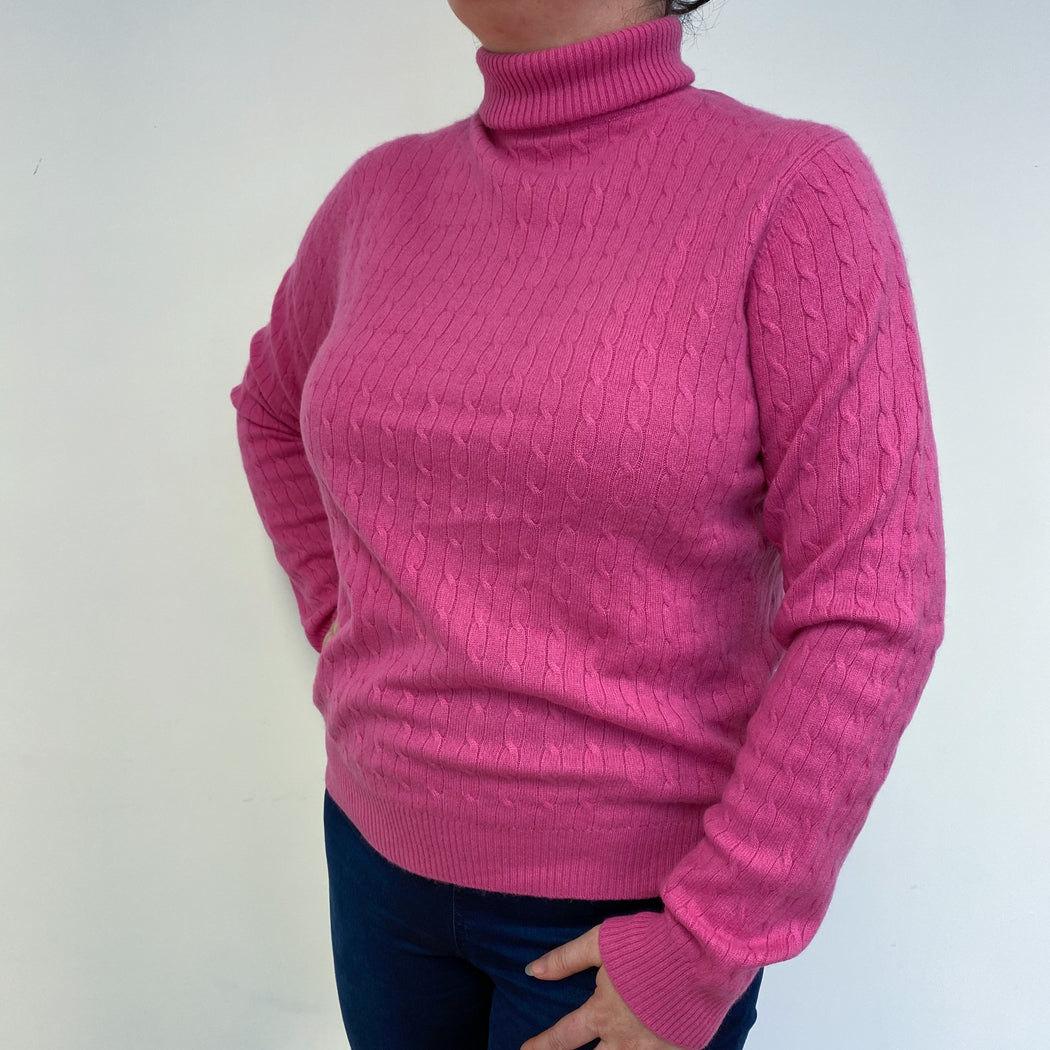 Hot Pink Cable Knit Polo Neck Jumper Large