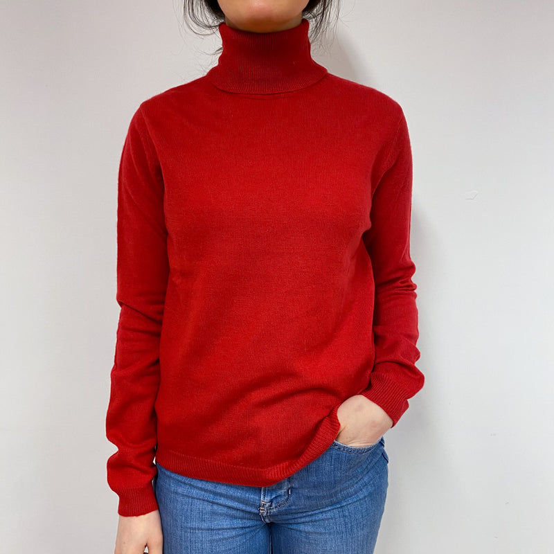 Postbox Red Polo Neck Jumper Small