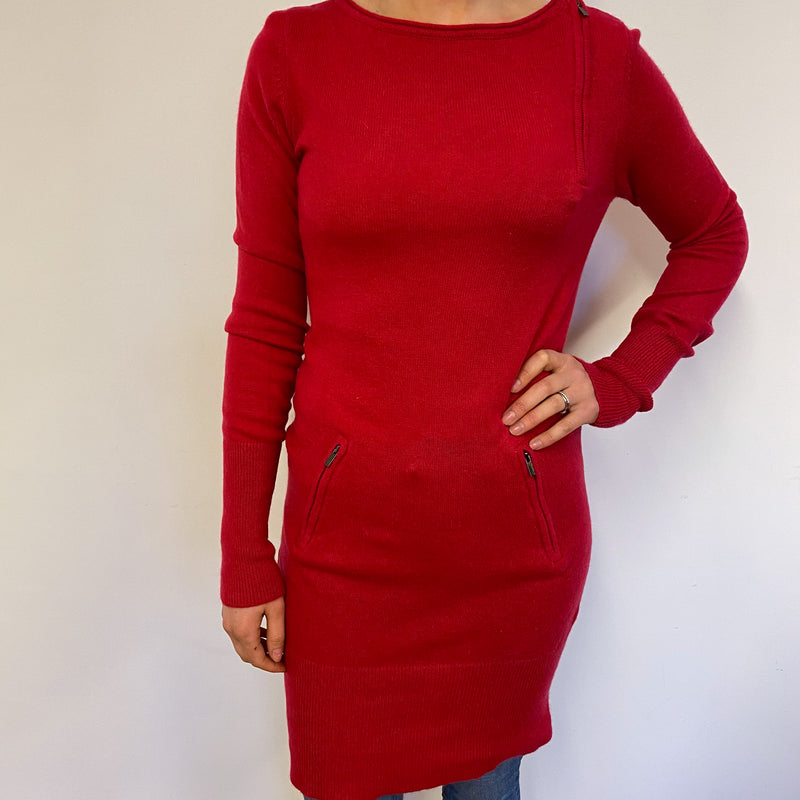 Cherry Red Zip Detailed Crew Neck Jumper Dress Small