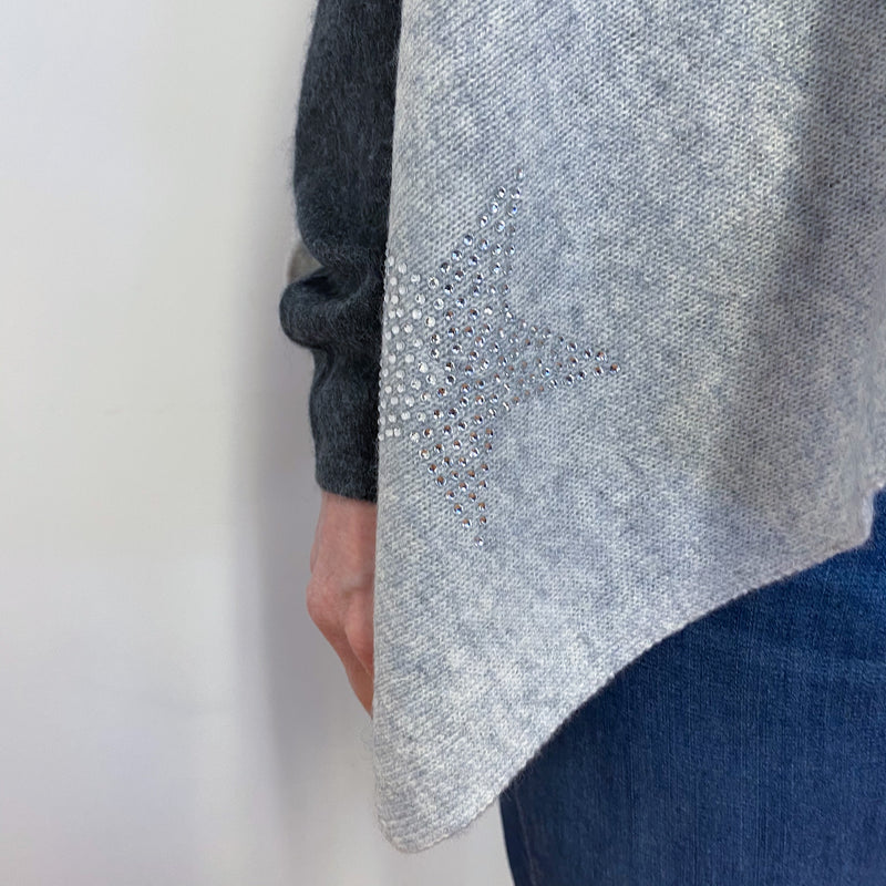 Pale Grey Diamanté Star Detailed Poncho One Size