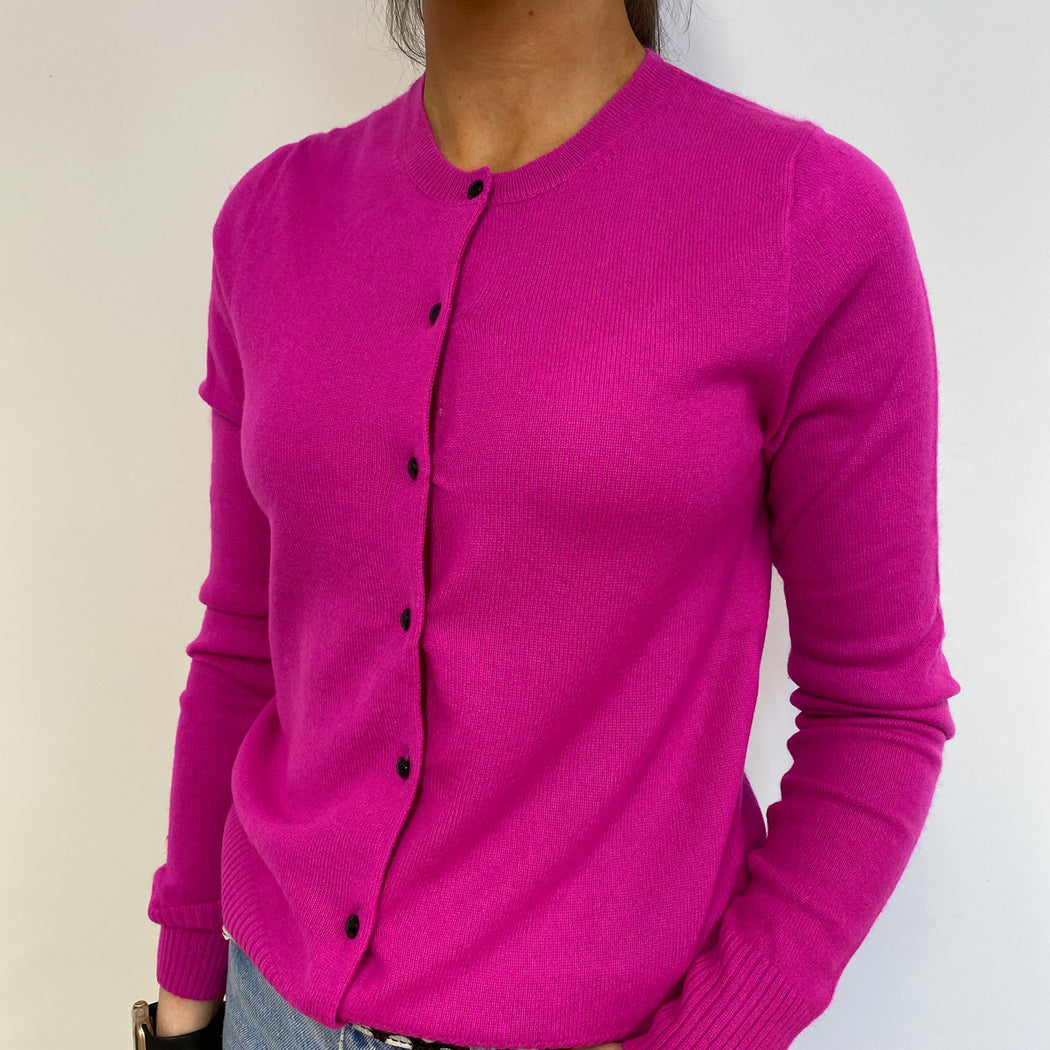 Brightest Pink Crew Neck Cardigan Small