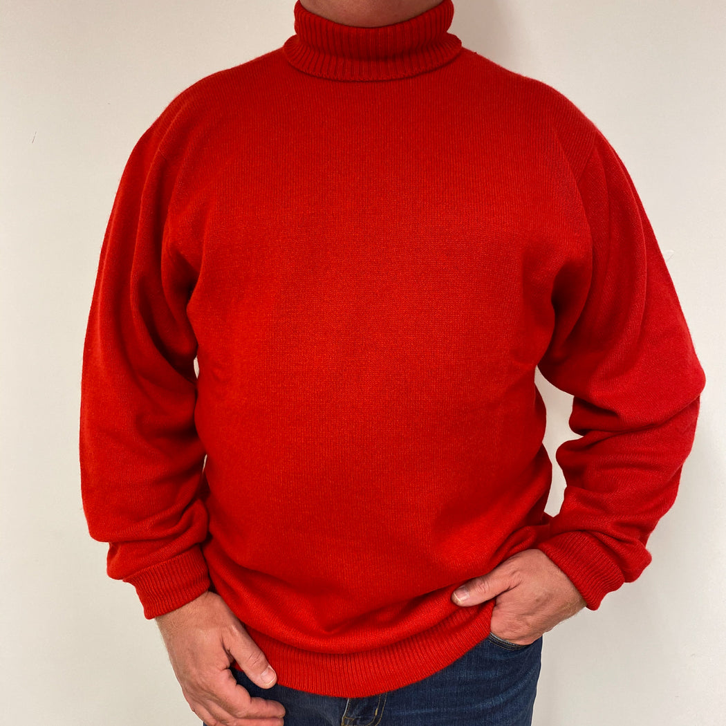 Men's Scottish Tomato Red Heavy Knit Polo Jumper XXL
