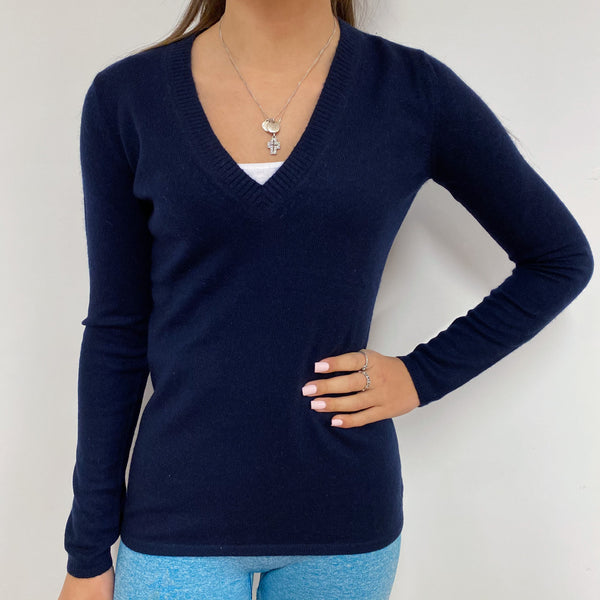Navy Blue V-Neck Jumper Extra Small