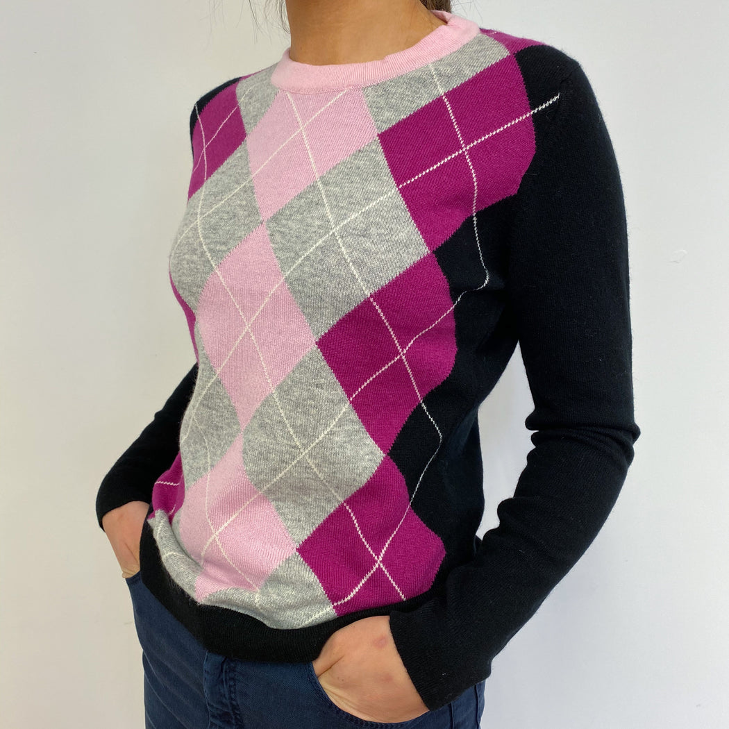 New* Black and Pink Argyle Scottish Crew Neck Jumper Small