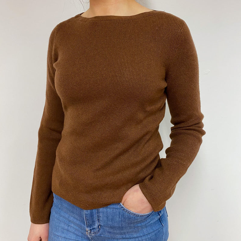 Cinnamon Brown Crew Neck Vintage Jumper Small
