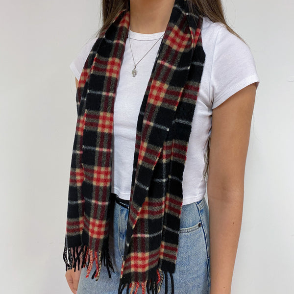 Black/Red Check Vintage Burberry Scarf