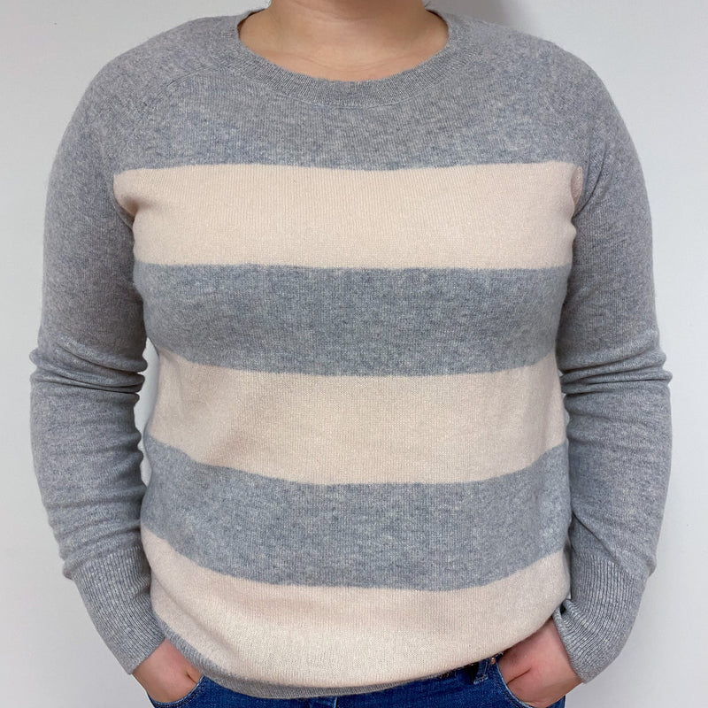 Pale Grey and Pink Stripe Crew Neck Jumper Large