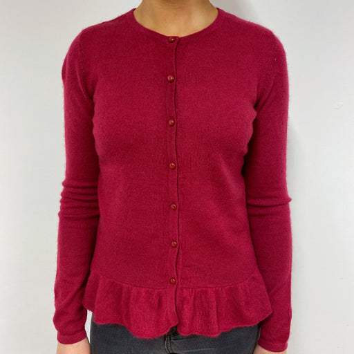 Dark Raspberry Crew Neck Cardigan Small