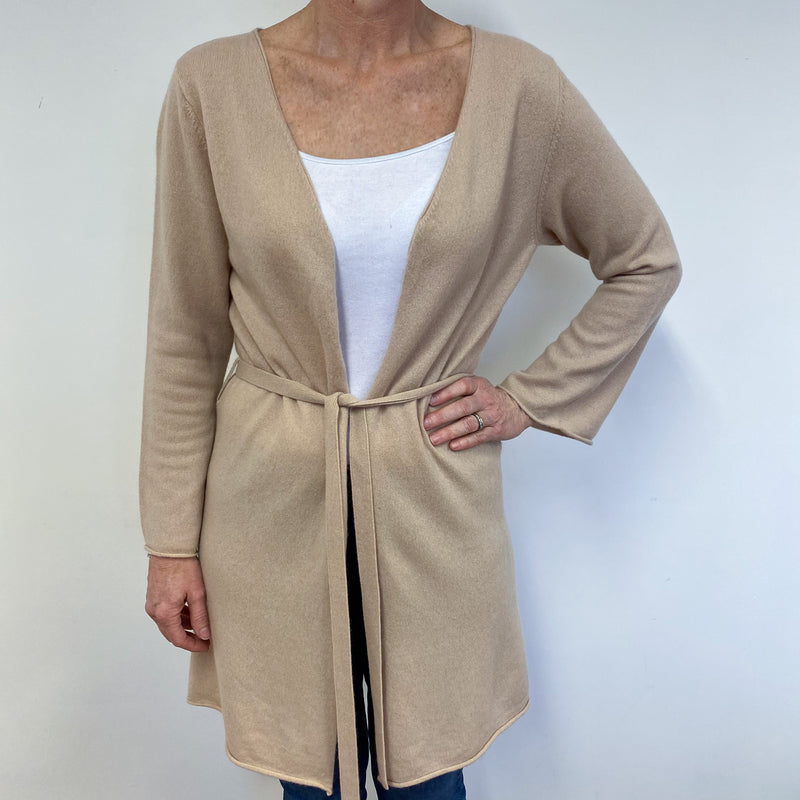 Camel Longline Tie Detailed Cardigan Medium