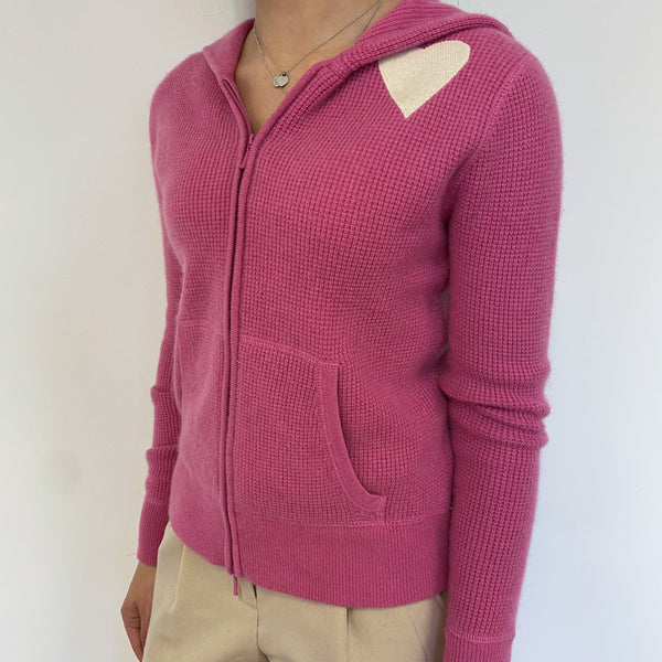 Tulip Pink Heart Detailed Zip Through Hoodie Extra Small