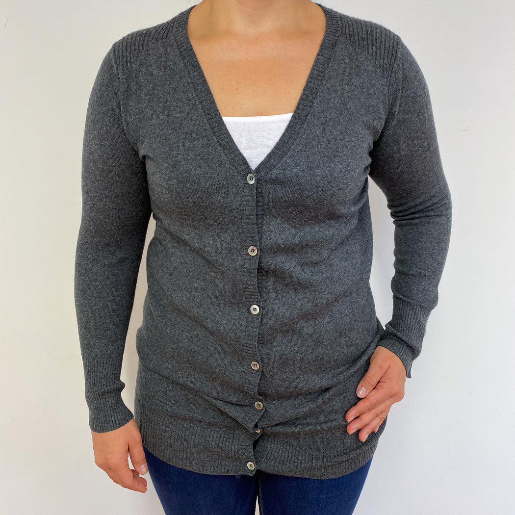 Pure Collection Charcoal Grey Longline Cardigan Medium