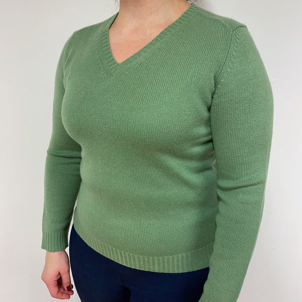 Pear Green V Neck Jumper Large