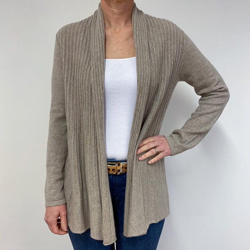 Pale Oatmeal waterfall Cardigan Medium