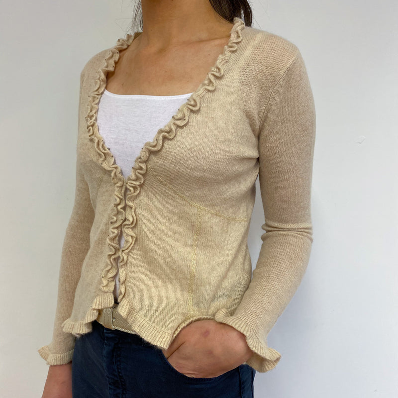 Cream Frill Edge Cardigan Small