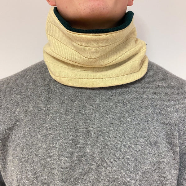 Reversible Lemon and Bottle Green Neck Warmer Unisex