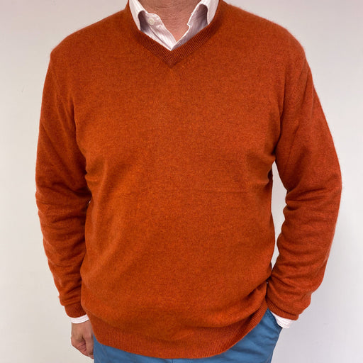 Men's Burnt Orange V Neck Jumper XL
