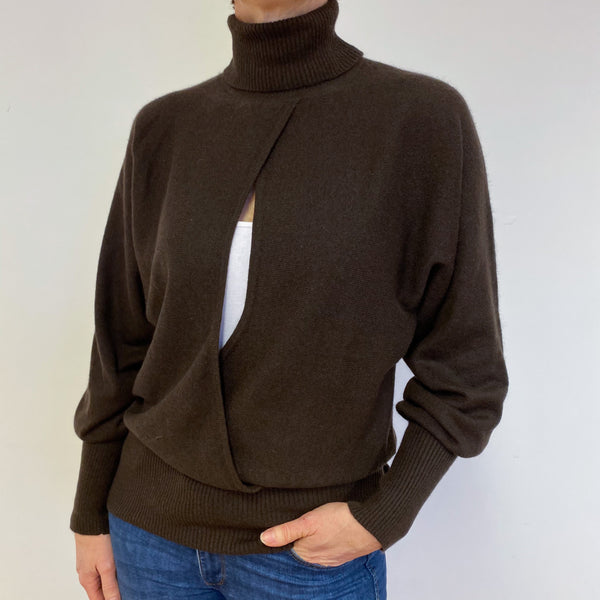 Chocolate Brown Cut Out Detail Polo Neck Jumper Medium