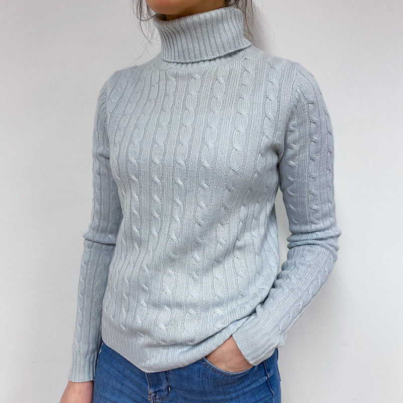 Palest Blue Cable Knit Polo Neck Jumper Small