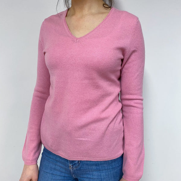 Candy Pink V Neck Jumper Small