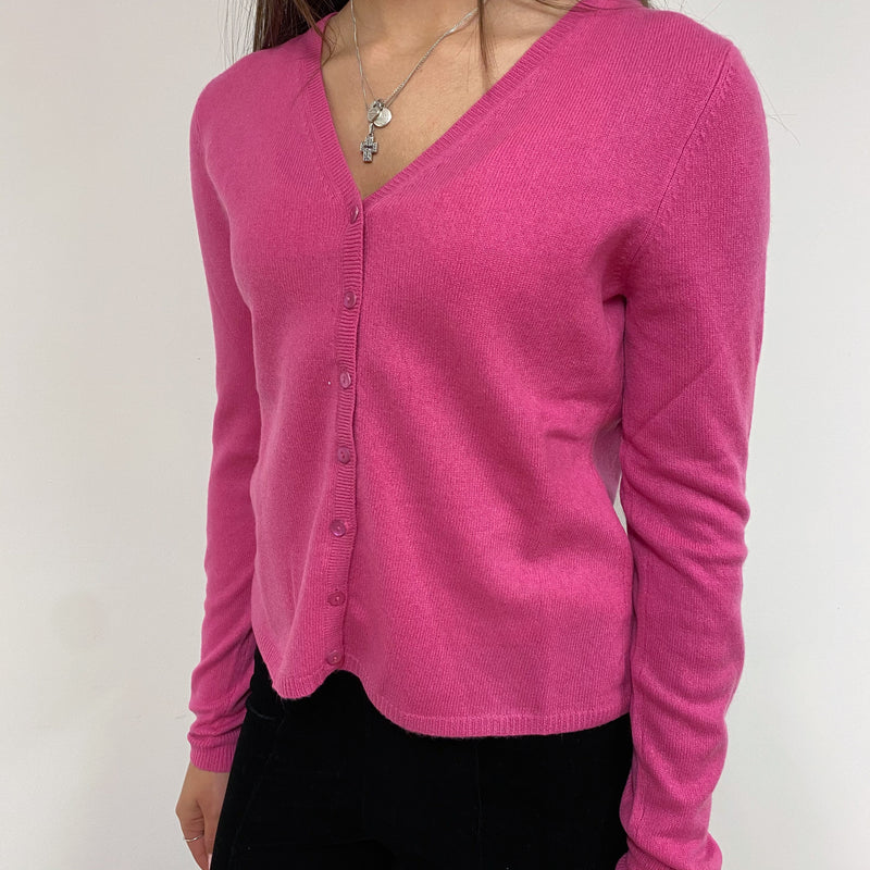True Pink V Neck Cardigan Extra Small