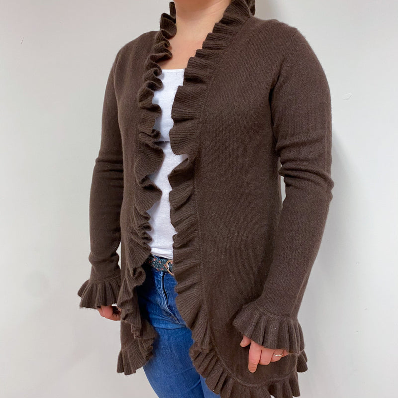 Long Chocolate Brown Frill Edge Cardigan Large