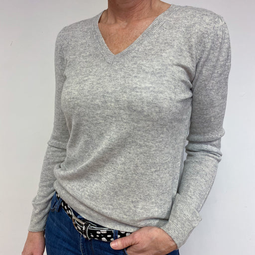 Pale Grey V Neck Lightweight Jumper Medium