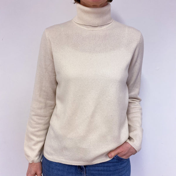 Vanilla Polo Neck Jumper Medium