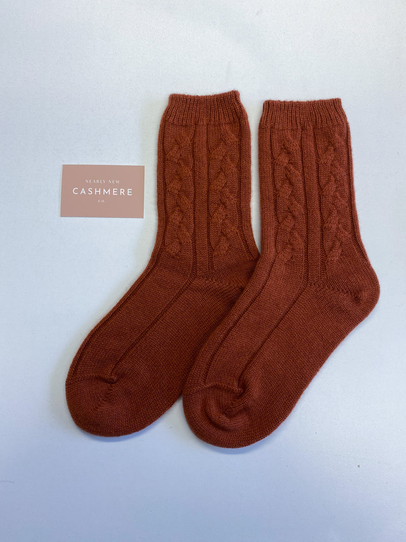 New Luxury Cable Knit Ladies Burnt Orange Cashmere Bed Socks
