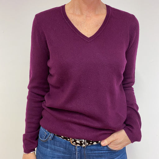 Beetroot Purple Star Detailed V Neck Jumper Medium
