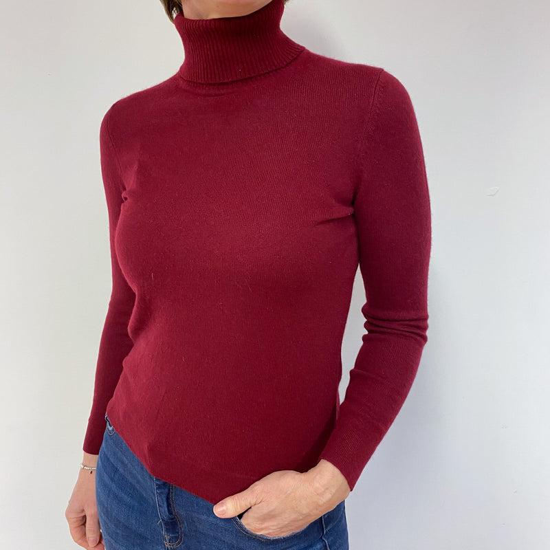 Burgundy Polo Neck Jumper Medium Petite